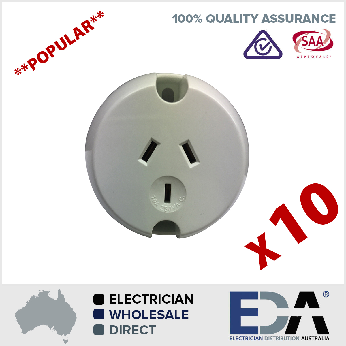 Surface Sockets Plug Base BULK 10 X Electrical Outlets Fan Base ...