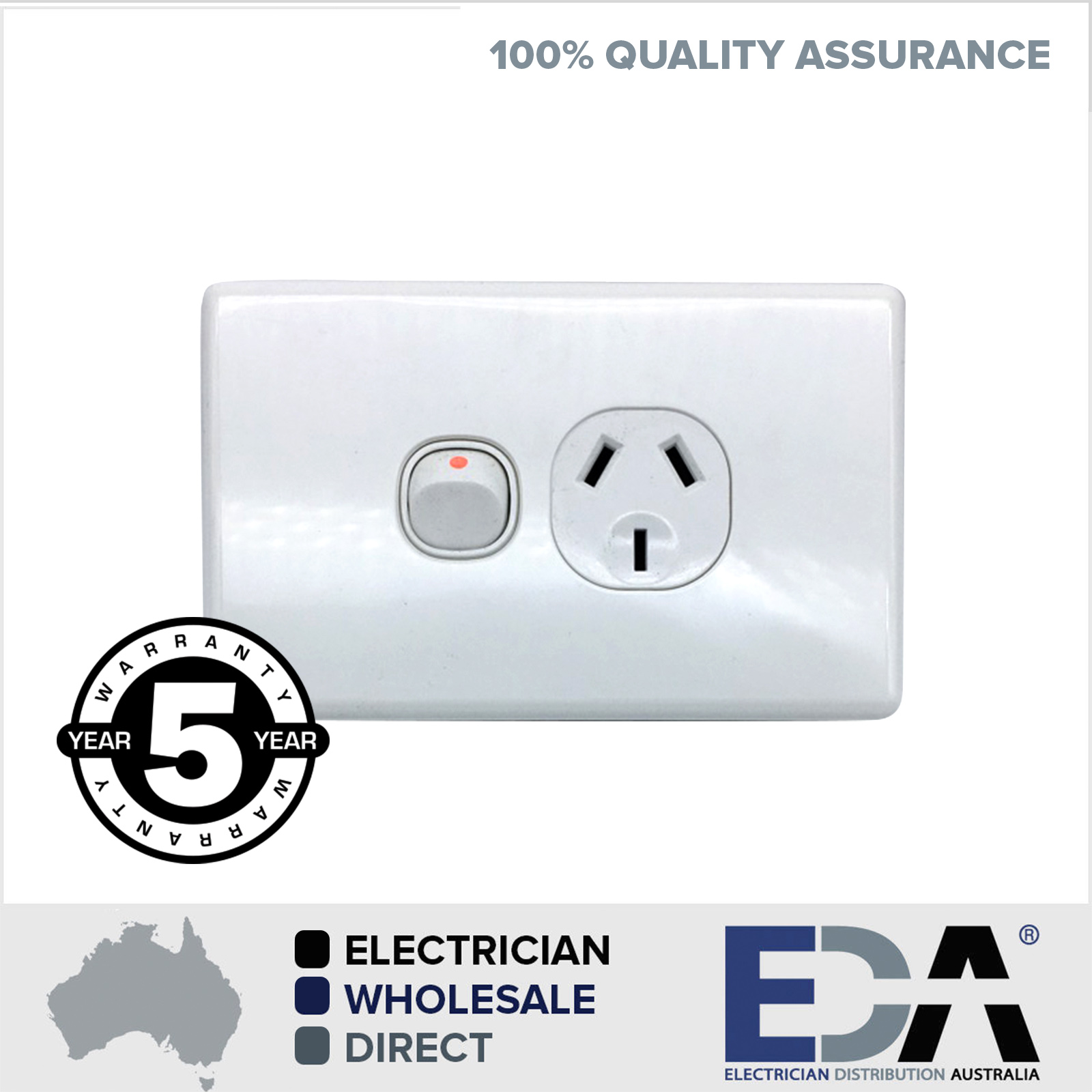 Slim Single Power Point GPO Outlet Switch Electrical - Eda Online