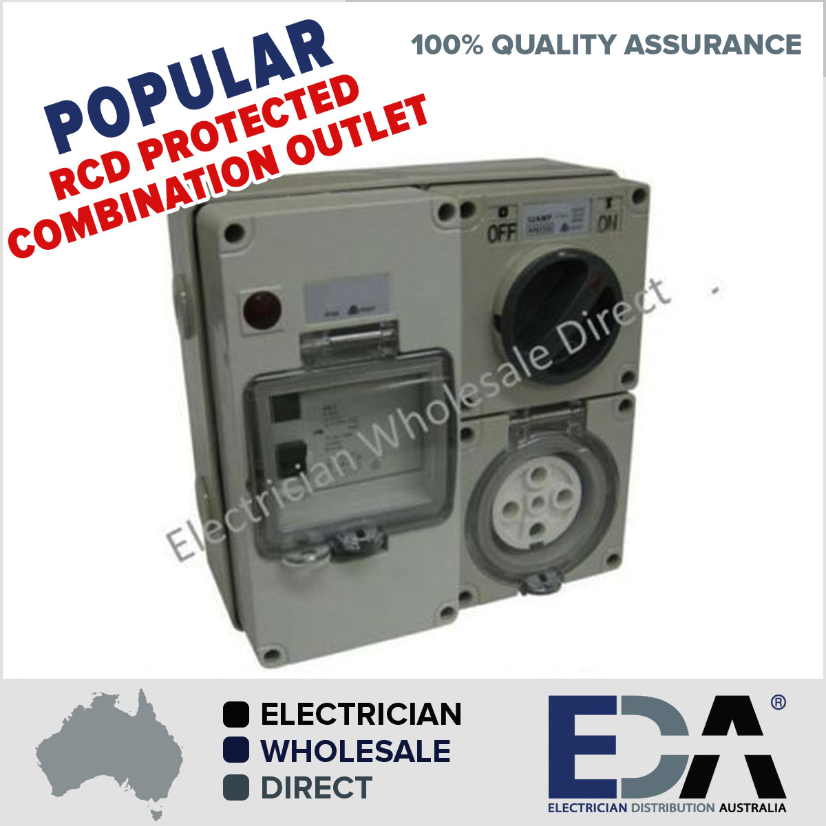 5 Pin 32 Amp Switch Socket Rcd Combination Outlet 4 Pole