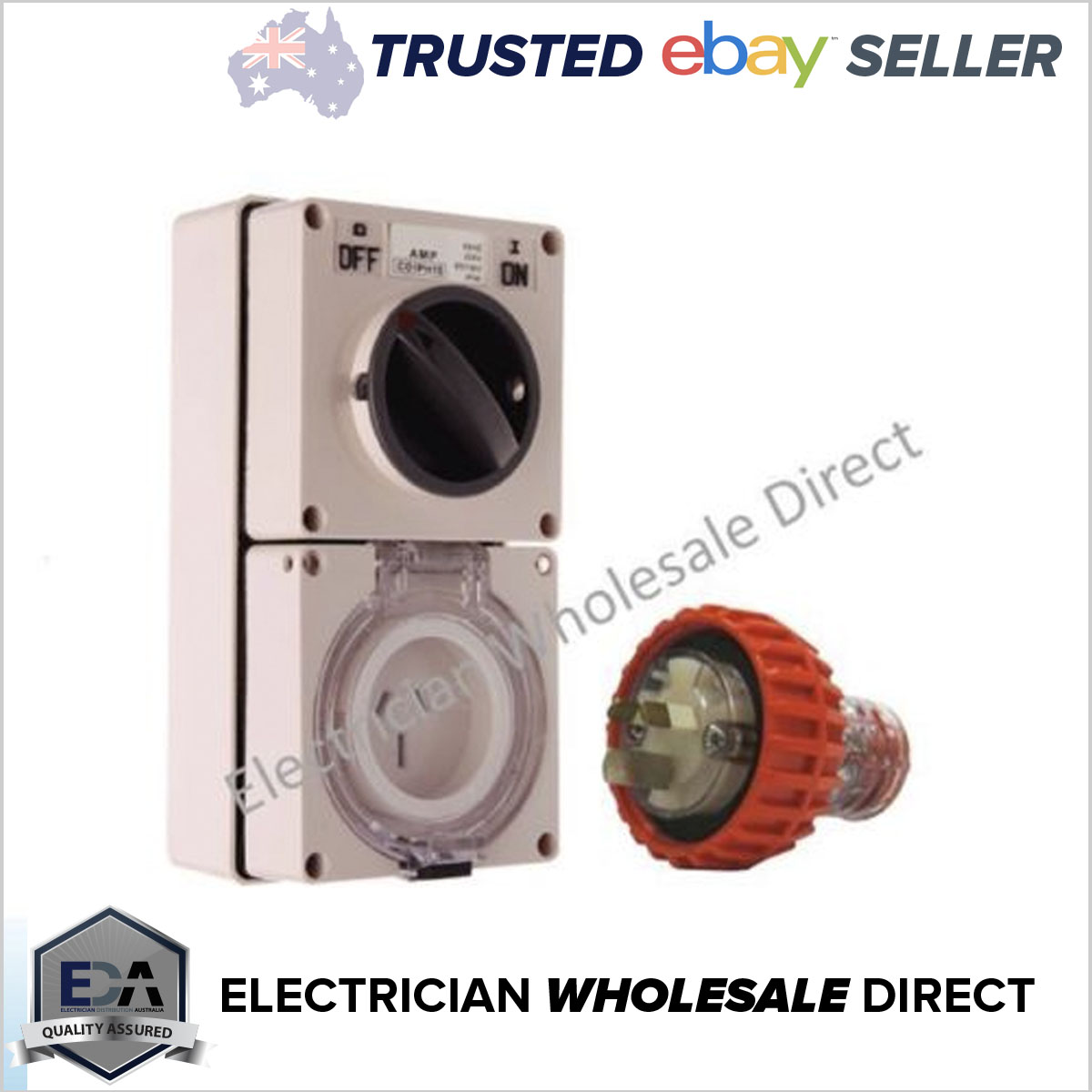 15 Amp 3 Flat Pin Weatherproof Switched Socket Outlet Ip66