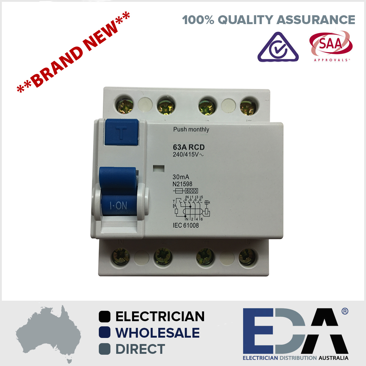 63 amp 4 pole rcd 240415v residual current device safety switch products publicscrutiny Gallery