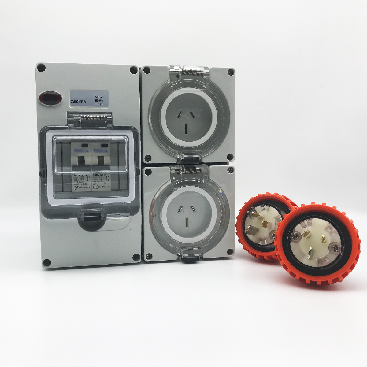 3 pin 2 x 15 Amp RCD Protected Outlet with Male Plug IP66 Outlet ...
