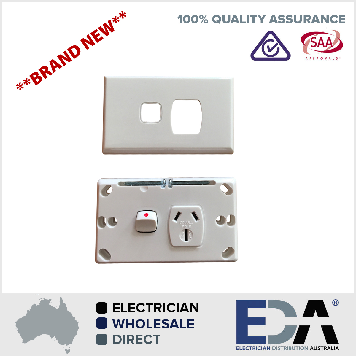 15 Amp Double Pole 240V Single Point GPO Outlet For Caravans ...