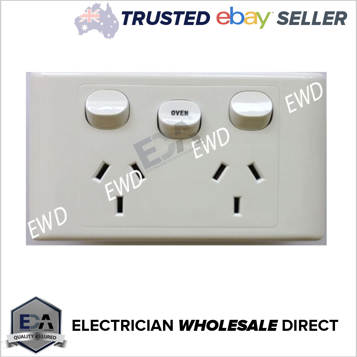 Double Power Point GPO with OVEN 35 Amp Extra Switch Wall Outlet ...