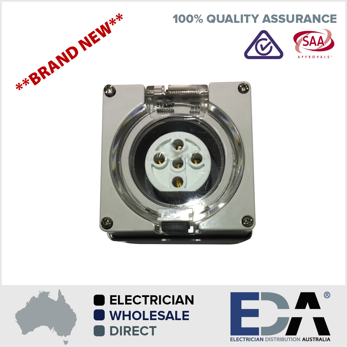 5 Pin 20 Amp 3 pole phase Socket Outlet IP66 Weatherproof Industrial ...