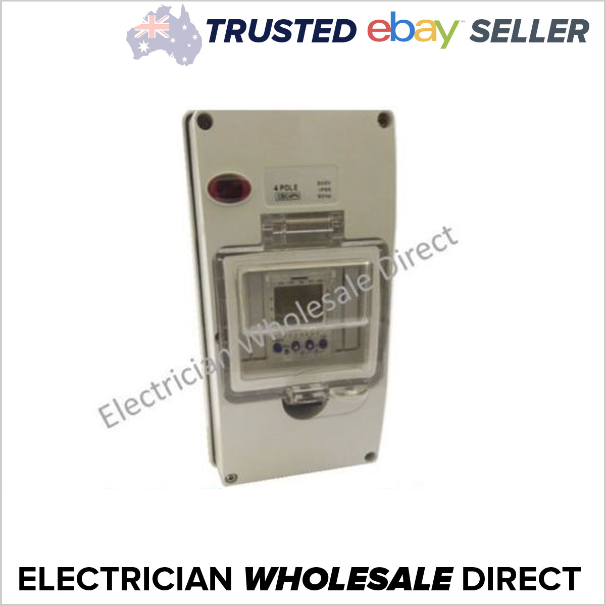 2 Channel Digital Time Clock X1 In Weatherproof 4 Pole Enclosure Circuit Breaker Timer Ebay Neon Ip66
