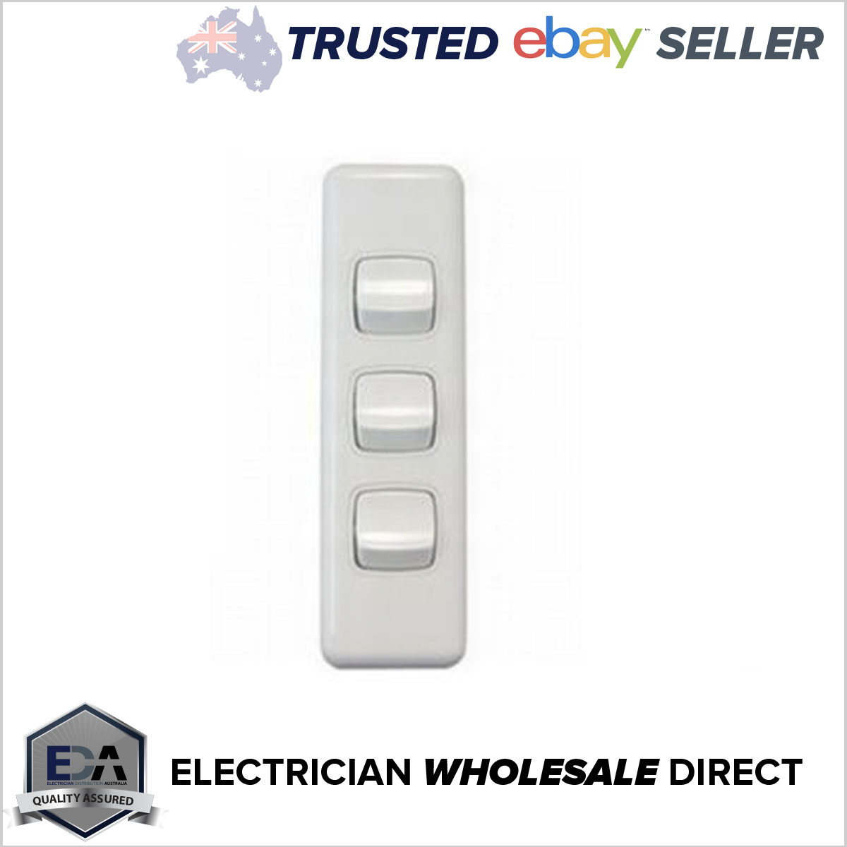3 Gang Architrave Light Switch Triple White Electrical - Eda Online