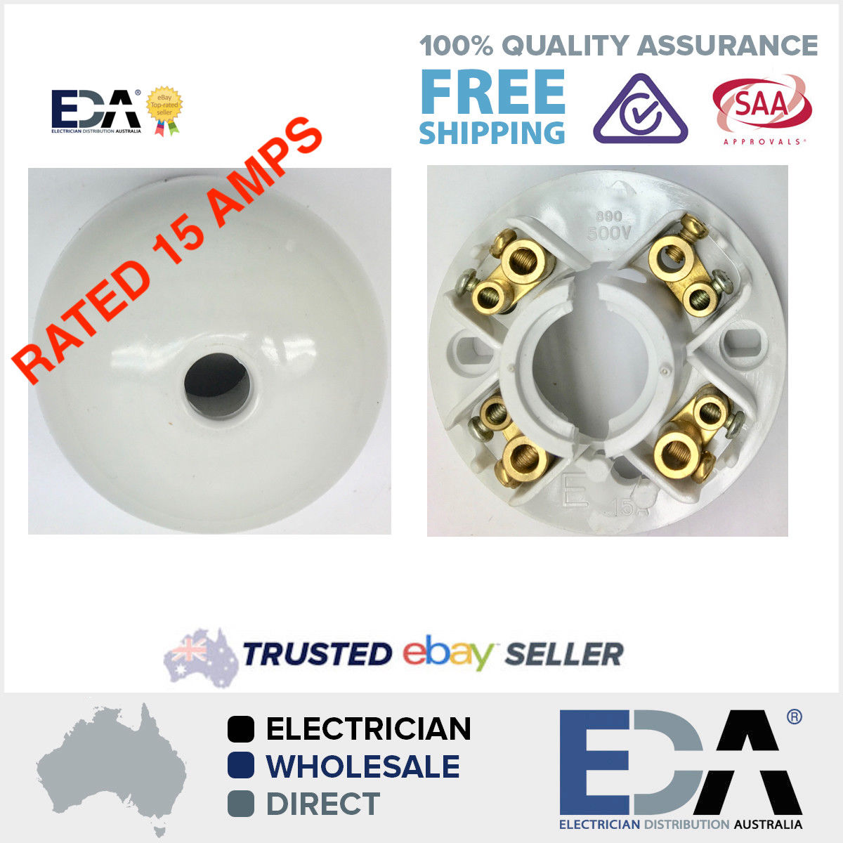 Ceiling rose 4 terminal fan light clipsal style 15 amp rated surface products aloadofball Gallery