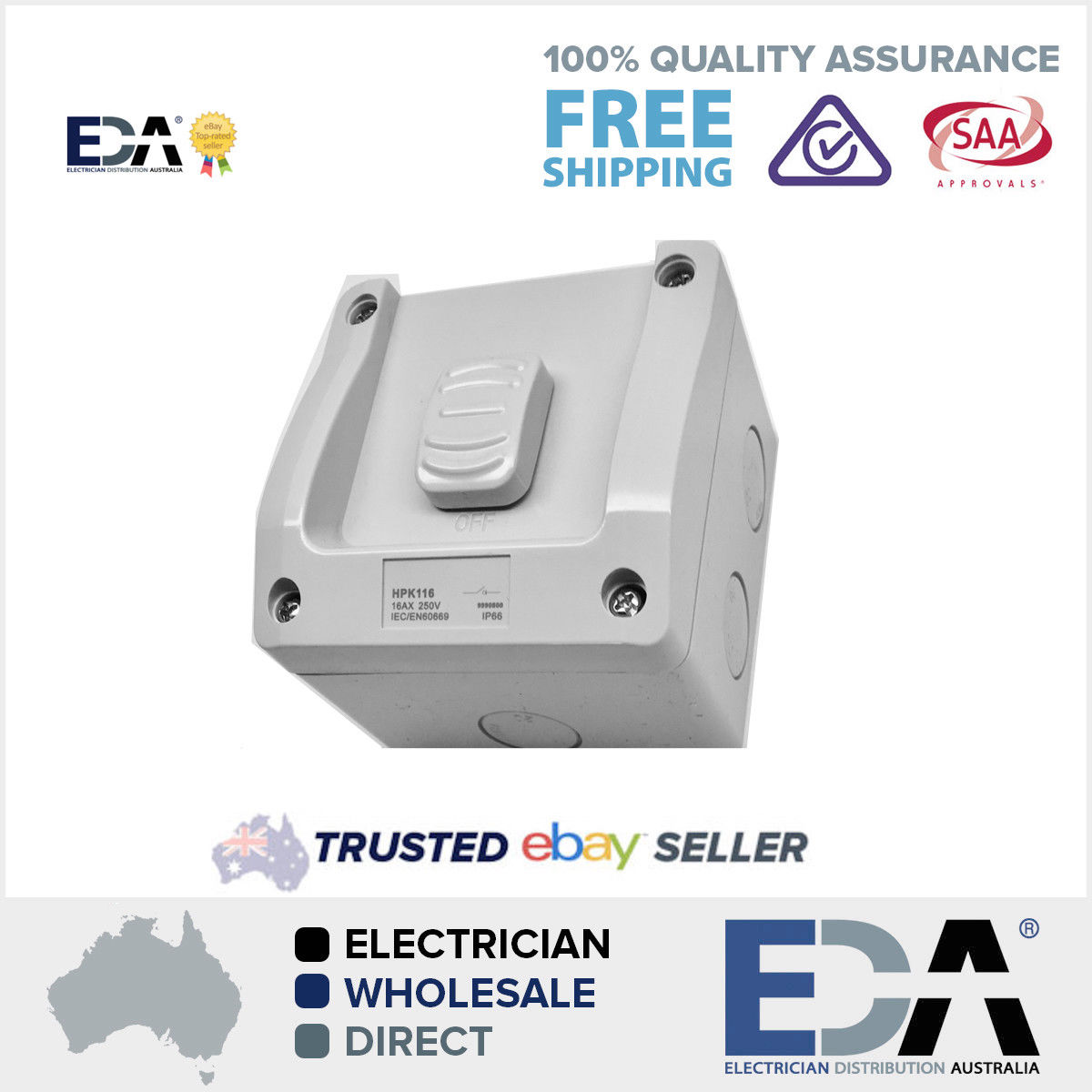 16 Amp 1 Gang Weather Proof Switch Isolator IP 66 External Out door ...