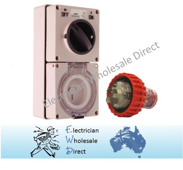 3 Pin 20 Amp 240V Switched Socket Outlet with Plug IP66 Weatherproof ...