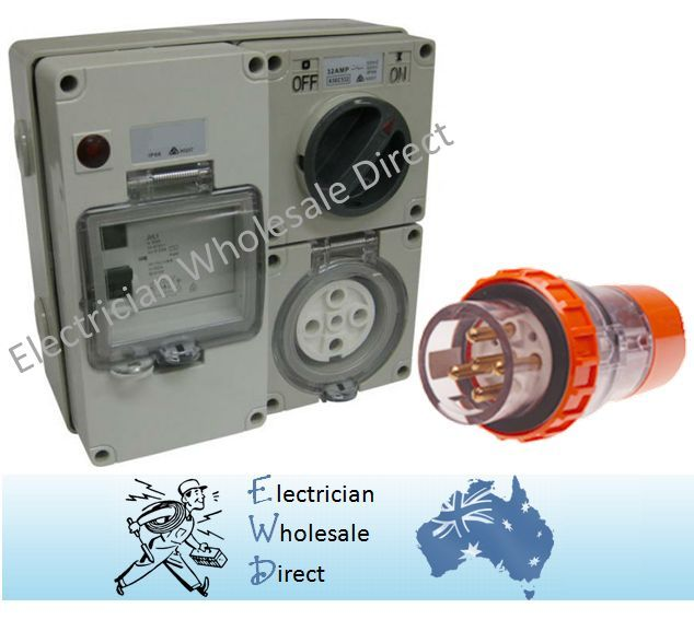 5 pin 20 Amp Protected Outlet with Plug IP66 Industrial 63 Amp RCD ...