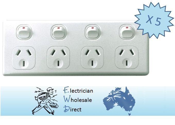 4 Gang Gpo Bulk Box 5 X Power Point Quad Socket Outlet 4 Way