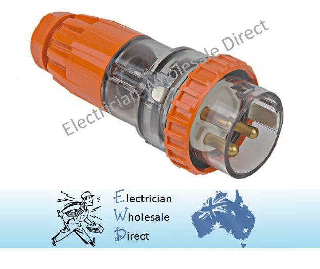 32a Amp Plug 3 Pin 240v Ip66 Weatherproof Male Straight