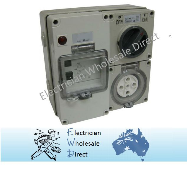 5 pin 50 Amp Switch Socket RCD Protected Outlet 4 Pole Switchboard ...