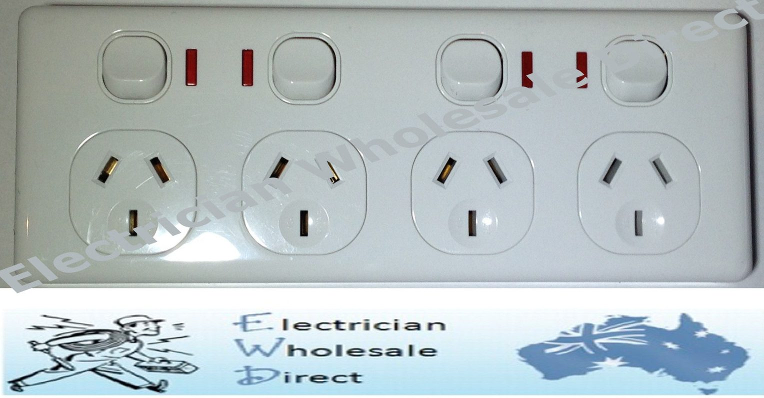 4 QUAD DOUBLE POLE GPO Power Point Quad Socket Outlet with NEON 4 ...
