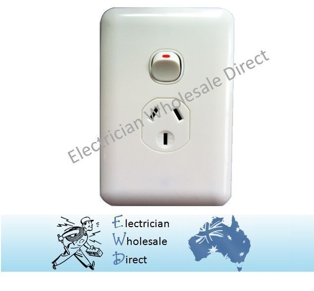 Vertical Wafer Single Power Point Outlet Switch GPO White Slimline ...