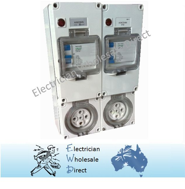 Water Proof 32 Amp Ip66 2x 5 Pin 3 Phase Protected Outlet