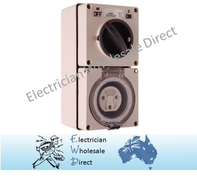 3 Round Pin 20a 240v Switched Socket Outlet Industrial