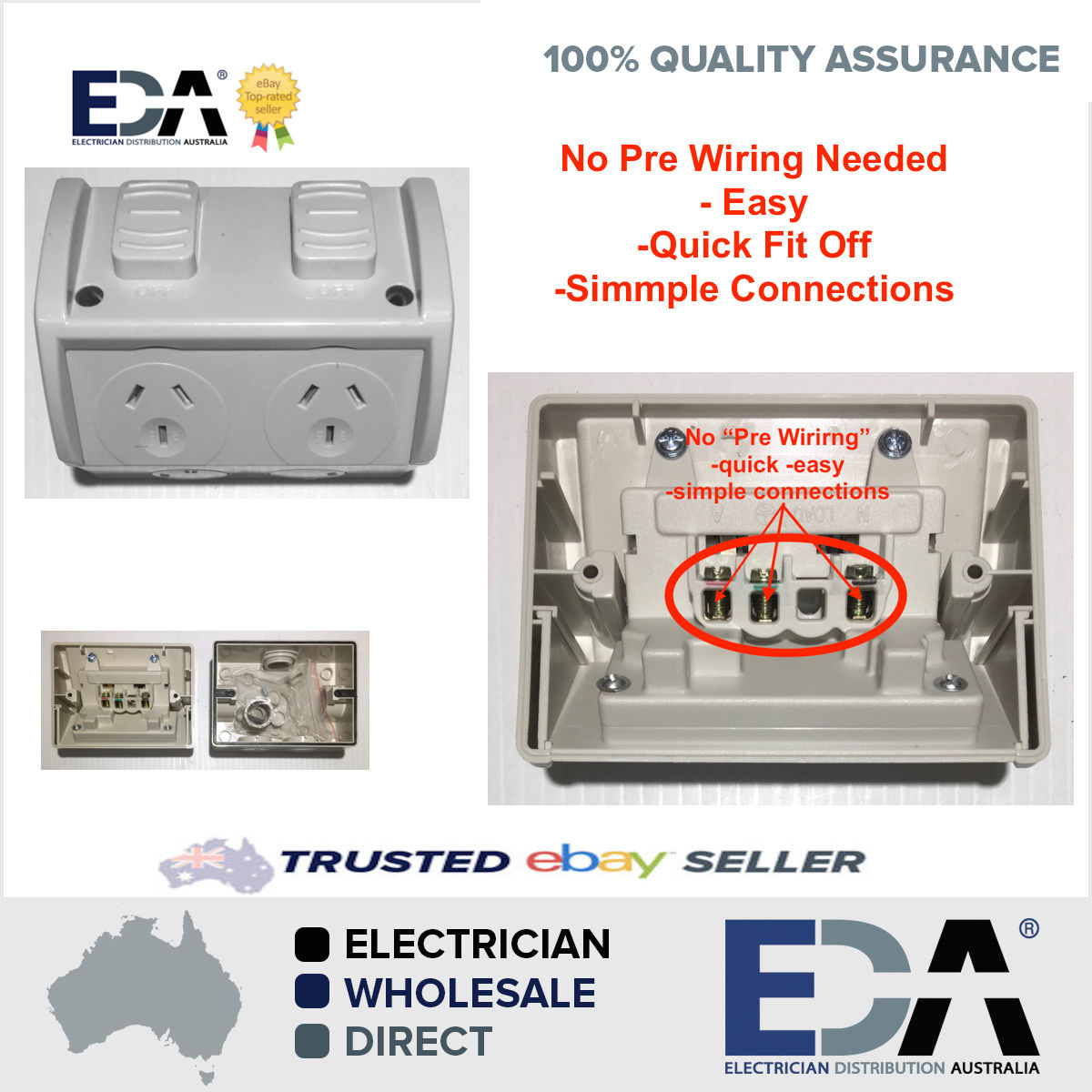weatherproof dgpo no wiring double power point quick fit off easy rh edaonline com au wiring a new powerpoint wiring a power point australia