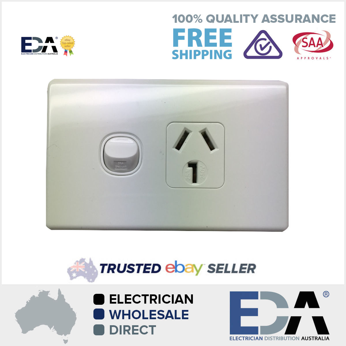 25 amp Single GPO Power Point Outlet Electrical - Eda Online